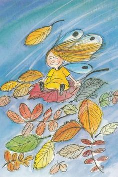 Tuulen viemää (Gone with the wind) Good Night Massage, Angel Illustration, Autumn Fairy, Large Paper Flowers, Gone With The Wind, Whimsical Art, Faeries, Cartoon Art, Autumn Leaves