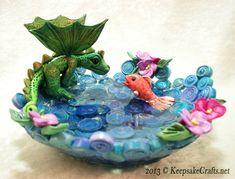 Friends - polymer clay fantasy dragon sculpture by Sandy Huntress of keepsakecrafts.net