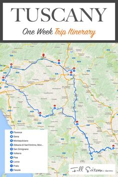 One week trip itinerary for Tuscany Italy. Road trip guide to the most beautiful Tuscan towns and countryside!