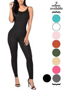 5f6d527f20 Amilia Womens Spaghetti Strap Bodycon Tank One Piece Jumpsuits Rompers  Playsuit