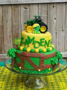 The tractor cake I made for Cam's birthday! Farm Birthday, 2nd Birthday Parties, Horse Birthday, Birthday Ideas, Birthday Cake, 6 Cake, Cupcake Cakes, Cupcakes, Truck Cakes