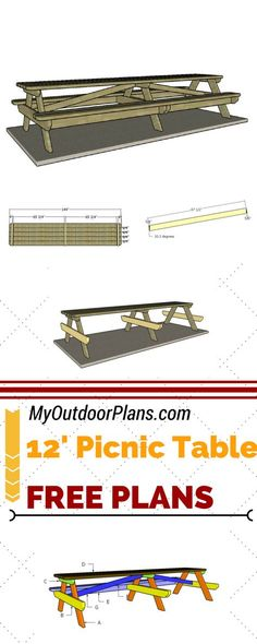 Check out free plans for building a 12 foot picnic table. Learn how to build a large picnic table so you can party with your family or group of friends in your very own backyard. See step by step plans at myoutdoorplans.com #diy #picnictable