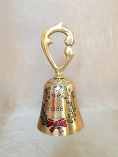 Brass Holiday Bell Bells of Sarna India Merry by DotnBettys