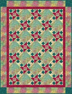 Timeless Treasures Festival Tonga Batiks Gypsy Breeze Quilt Kit 59 by 77 inches. Hancocks of Paducah offers a wide selection of Quilt Kit by Timeless Treasures Hancocks Of Paducah, Quilt Sizes, Quilt Patterns Free, Quilt Top, Breeze, Pattern Design, My Etsy Shop, Quilts, Gypsy