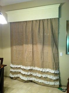 Tutorial for Burlap Curtain with Ruffles A few months back I was on the search for some  Burlap Curtains for my sister, I went to a great little store called  Found in downtown Mesa.. I fell in love with the curtains I found there…  but they were VERY pricey So, I thought I could just make some! My sister Scarlett bought the burlap at Joanns for great deal, and I had some very cheap cream fabric left over from a  different project and I thought the cream fabric would help make the curtains…