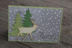 Heute zeige ich euch einfach mal alles, was ich noch so auf der Festplatte habe. Diese Weihnachtskarte ist die erste, die ich für mich ... - Weihnachtskarten mit Wood Veneer Rentier und Tannenbaum