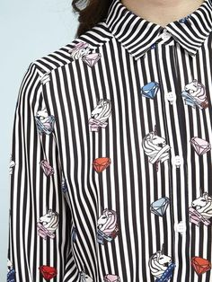 66f1b5512ac A chiffon button-up shirt in Sister Jane s own helter skelter pinstripe    unicorn motif – the ultimate basic in a statement print. Fabric  Composition  6.