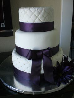 Purple wedding cake.