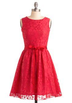 Cute red lace dress via modcloth