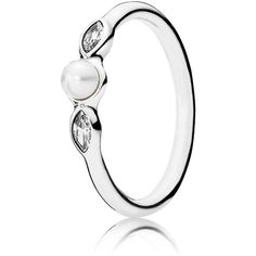 Pandora Ring - Sterling Silver, Cubic Zirconia & Cultured Freshwater... (65 AUD) ❤ liked on Polyvore featuring jewelry, rings, silver, leaves ring, freshwater pearl ring, sterling silver cubic zirconia rings, leaf jewelry and cubic zirconia jewelry