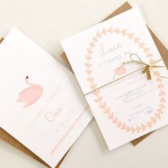 A pretty, delicate invite featuring a pale pink swan and peach foliage design.Double sided and finished with a gold twine to attach your little one's age or initial to.Comes with c6 envelopes in kraft paper.** Please note the following before placing your order **1) A minimum of ten invitations per order 2) Please use the contact me section to advise of your wording.3) Once payment is received you will receive one proof within 48 hours 4) Once proof is appr...
