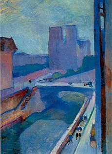 Notre-Dame, une fin d'après-midi Matissenotredame.jpg Artist 	Henri Matisse Year 	1902 Type 	Oil on paper mounted on canvas Dimensions 	72.5 cm × 54.5 cm (28 1⁄2 in × 21 1⁄2 in) Location 	Albright-Knox Art Gallery, Buffalo