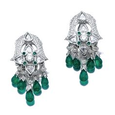 Pair of emerald and diamond earrings, Narotamdas Bhau. The arched surmount set with brilliant-cut and pear-shaped rose-cut diamonds and circular-cut emeralds, suspending a diamond set fringe of emerald drops, mounted in white gold.