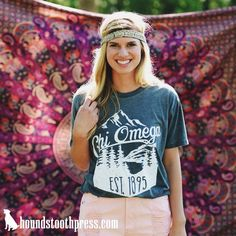 Chi Omega mountain soft tee | #LoveTheLab houndstoothpress.com | Chi Omega |Fraternity and Sorority  Shirts |  TShirts | Sorority T-Shirts | Classic Sorority T-Shirts | Custom Greek TShirts | Greek Life | Custom Greek Apparel | Sorority Clothes | Comfort Colors Tank | Sorority T-Shirt Ideas | Custom Designs | Custom TShirts |Sorority Spring Break | Custom Screen printed shirts | Custom Greek Screenprinting |Custom Printed Sorority TShirts | Custom Printed T-Shirts |