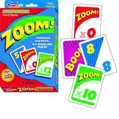 It's the math game with a forward/backward twist! In Zoom™ players add cards while watching out for wild cards that can send their scores zooming forward, backward, or stall a turn. Helps to build mul