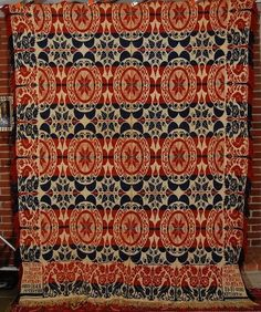 Vintage Pre Civil War Double Weave Jacquard Ohio Antique Coverlet Dated 1848 | eBay
