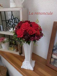 プリザーブドフラワー la renonculeの花日記 アレンジメント 赤 ローズ ブーケ