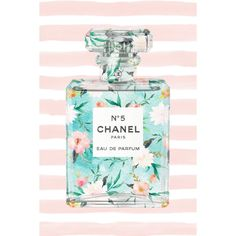 Marmont Hill - 'Floral Stripes' by Melanie Clarke Painting Print on Wrapped Canvas - Multi-color x Silver aluminum Chanel N 5, Parfum Chanel, Chanel Brand, Chanel Quotes, Megan Hess, Beautiful Perfume, Striped Canvas, Floral Stripe, Canvas Artwork