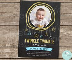 TWINKLE LITTLE STAR Invitation // Blue and by littlebirdieprints
