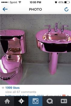 Metallic pink toilet and sink. Purple Love, All Things Purple, Shades Of Purple, Pretty In Pink, Purple Rain, Pink Purple, Vintage Pink, Pink Toilet, Purple Bathrooms