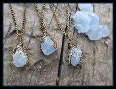 Celestite crystal raw celestite necklace boho by dieselboutique