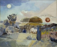 Landscape of the Vernal Equinox (III) − Paul Nash − N − Artists A-Z − Online Collection − Collection − National Galleries of Scotland. My favourite painting by Paul Nash. Sun and moon are both in the sky as the days and nights lie balanced at the tipping point of the new year.