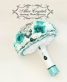 Brooch Bouquet. Ivory and Emerald teal. Big by AliceCrystals