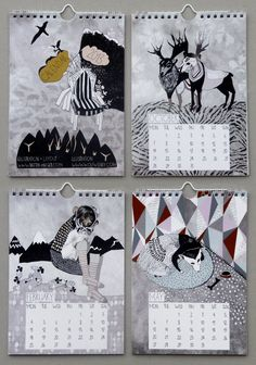 SALE, Illustrated wall calendar for 2013, DIN A 5, limited, matte coated 250g paper, spiral binding. €12.66, via Etsy.