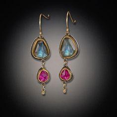 Labradorite and Ruby Drop Earrings