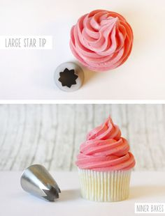 {Cupcake Decorating} Basic Icing/Frosting Piping Techniques: How to frost cupcakes with piping tips -  via niner bakes