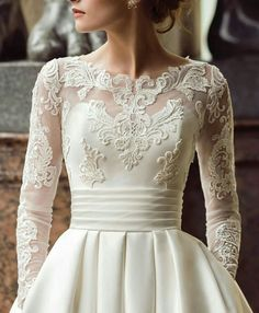 30 Cute Modest Wedding Dresses To Inspire ❤ modest wedding dresses a line with illusion long sleeeves lace blush naviblue Wedding Dress Winter, Sweet Wedding Dresses, Wedding Dress Trends, Wedding Dress Sleeves, Long Sleeve Wedding, Bridal Dresses, Dresses With Sleeves, Wedding Gowns, Dresses Dresses