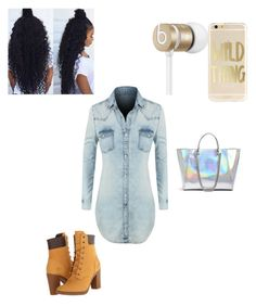 """fleek jr."" by yoosenana ❤ liked on Polyvore featuring LE3NO, Timberland, GUESS and Beats by Dr. Dre"