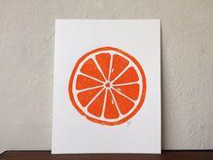 Orange Linocut print