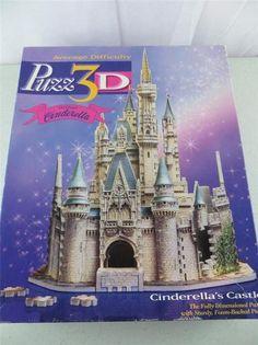 Walt Disney Cinderella Castle 3D 530 Piece Puzzle Wrebbit Puzz3D Milton Bradley | eBay