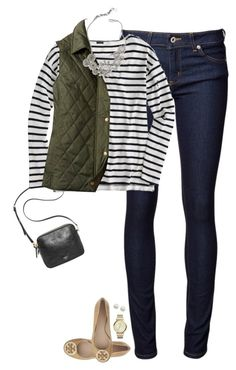 """""""Army green vest, striped top & nude flats"""" by steffiestaffie ❤ liked on Polyvore featuring Naked & Famous, FOSSIL, J.Crew, Ann Taylor, Tory Burch and Majorica"""