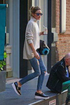Olivia Palermo wearing Givenchy Antigona Bag, Sol Sana Tabbie Wedge and Fendi Alphabet O Charm