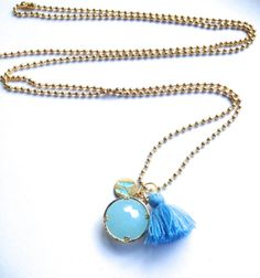Long Light Blue Necklace  Blue Pendant  Long Ball Chain  by Annyse