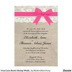 Ivory Lace Rustic Burlap Wedding Invitation- Pink