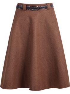 Falda de lana simple-kaki 15.91