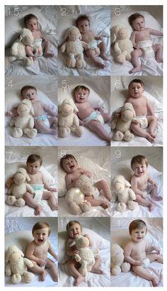 Eu adoro essa ideia de fazer fotos mensais para acompanhar e registrar os crescimento do bebê em seu primeiro ano. Sem falar que depois…