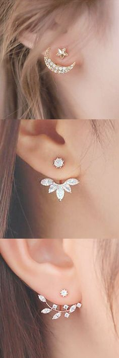 Celebrity Ear Piercing Jewelry at MyBodiArt.com - Gold Star Crystal Ear Jacket Earring Cartilage Lobe Helix Tragus #piercingjewelrygold