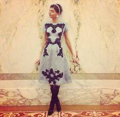Giovanna Battaglia in a stunning Dolce & Gabbana dress