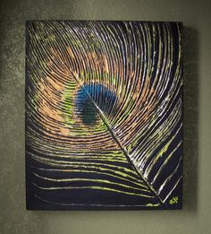 """""""Feather of Courtship"""" Textural Peacock Feather Painting"""