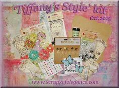 Scraps of Elegance scrapbook kits: October Tiffany's Style kit, featuring paper and embellishments from Prima's Royal Menagerie collection, Fabscraps' Serenity Collection, Prima Decorative Paper Clips, IOD Everyday Vintage Paintables Parisian Tags, Reneabouquets butterflies, Lindy's Stamp Gang Embossing Powder, and so much more. Kits are available in our store while they last, or subscribe and have it delivered to your door each month, and at a discount, too!