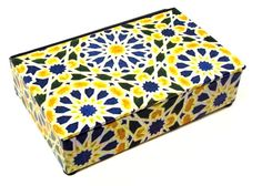 Decorative box in yellow, blue and white geometric design paper for display or storage of  treasures or necessities