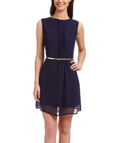 Another great find on #zulily! Navy & Gold-Belted Pleated Sleeveless Dress #zulilyfinds