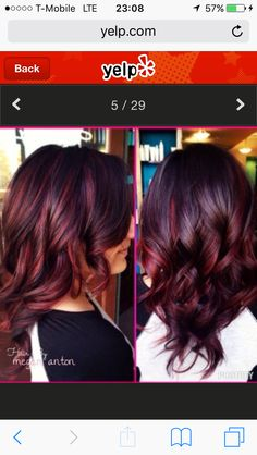 Violet hair with red highlight