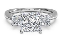 Princess Cut Three-Stone Diamond Engagement Ring with Princess-Cut Side-Diamonds in 14kt White Gold 0.38 CTW - Shadow