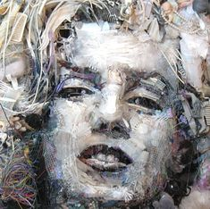 """Portraits made from found objects by artist Tom Deininger. Unlike Zac Freeman's """"Found Object Portraits,"""" Deininger's pieces are constructed in a way that must be viewed at the right angle in order. Recycled Art Projects, Recycled Materials, Trash Art, Marilyn Monroe Art, Found Object Art, Art Object, Junk Art, Installation Art, Art Installations"""