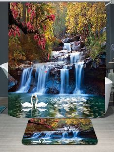 Shower Curtains Swans Flowers Cascade Design Water Resistance Fabric Polyester Home Bathroom Curtains And Rug Set Cheap Wall Tapestries, Hanging Tapestry, Wall Tapestry, Floral Shower Curtains, Bathroom Curtains, Window Curtains, 3d Wallpaper Landscape, Blanket On Wall, Wall Blankets
